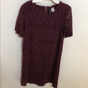 H&M maroon lace mini dress